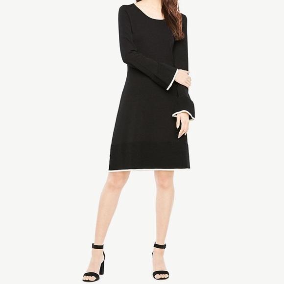 007ef9cd2ae Ann Taylor Black Ruffle Flare Sweater Dress